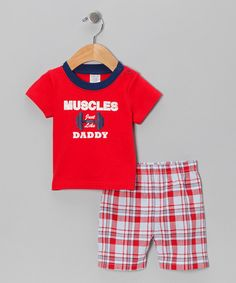 Take a look at this Red 'Muscles Just Like Daddy' Tee & Shorts - Infant on zulily today!