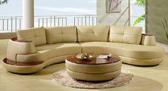 U918 Almond Sectional Sofa with Coffee Table