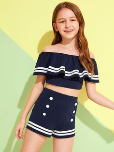 May 2020 - Girls Ruffle Trim Bardot Top & Double Button Shorts Set – Kidenhouse Dresses Kids Girl, Kids Outfits Girls, Cute Girl Outfits, Cute Outfits For Kids, Cute Summer Outfits, Cute Casual Outfits, Summer Dresses For Girls, Young Girl Fashion, Preteen Girls Fashion