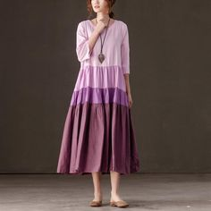 Round Neck Three Quarter Sleeve Women Pleated Splicing Dress