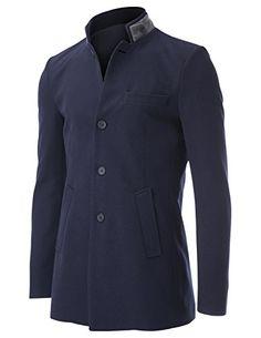 FLATSEVEN Mens Slim fit Double Collar Single Breasted 4 Buttons Casual Blazer Jacket (BJ503) Navy, XL http://www.flatsevenshop.com/blazers/