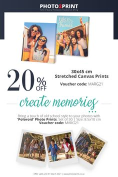 *Valid until 31 March 2021. Remember to add Voucher code MARG21 -voucher code box (payment page) in checkout. #Uniquegifts #specialgifts #personalisedgifts #Photo2Printza #giftIdeas #perfectgift #keepsake #Gauteng #Capetown #Durban #family #memories 31 March, Voucher Code, Family Memories, Stretched Canvas Prints, Photo Book, Special Gifts, Personalized Gifts, Unique Gifts, Coding