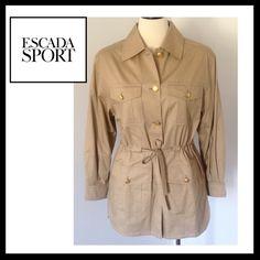 ESCADA SPORT Safari Jacket ESCADA SPORT Safari Jacket with drawstring. ESCADA buttons with logos and map lining print. Khaki color. 100%Cotton. EXCELLENT CONDITION!!! LIKE NEW!! Escada Jackets & Coats
