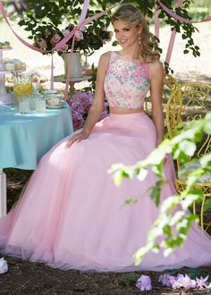 Mori Lee 99118 Floral Print Lace Tulle A-Line Two-Piece Gown