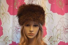 Vintage brown real fur Russian style hat. by ClaireLouVintage