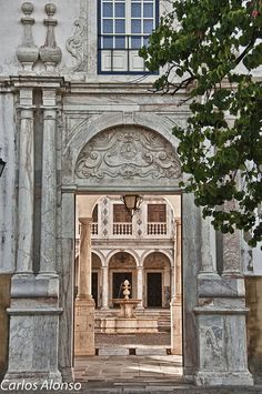 Entrance to the Courtyard of the University of Evora  Portugal