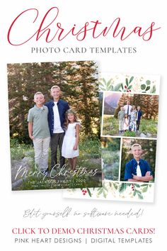 Everybody loves getting Christmas cards in the mail so use this 5x7 holiday template to quickly create this year's photo card! Easy to edit in your web browser, download and print!  Christmas Card Template | Photo Christmas Cards | Christmas Card Template 5x7  | Editable Christmas Card | Holiday Card Templates  #photochristmasccards #christmascards #christmastemplate #christmascard #christmascardtemplates, #photochristmascard #holidaycard #holidayphotocard, #christmasprintable Christmas Card Template, Printable Christmas Cards, Merry Christmas Card, Christmas Photo Cards, Holiday Cards, Christmas Holidays, Heart Designs, Minimalist Christmas, Web Browser