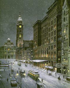 "philadelphia snow photos | Old Philadelphia - Snowfall on Market Street""by Paul McGehee"