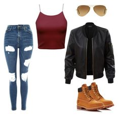 """Untitled #130"" by boring-727 on Polyvore featuring Topshop, LE3NO, Timberland and Ray-Ban"