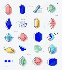 Set of space objects crystals with geometric shapes. Memphis, Geometric Shapes, Vector Art, Objects, Clip Art, Crystals, Illustration, Gifts, Hipsters