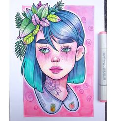 "659 Likes, 24 Comments - Amanda. (@amandajtoner) on Instagram: ""Pins and plants. Copic Markers and Copic Multiliners on Xpress-it Blending Card.  commissions…"""