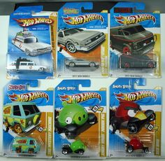 HOT WHEELS LOT OF 6 VHTF MODELS  ADD THESE COOL CARS TO YOUR COLLECTION  1) 2010 NEW MODELS GHOSTBUSTERS ECTO-1 25/240  2) 2011 NEW MODELS BACK TO THE FUTURE TIME MACHINE 18/244  3) 2012 NEW MODELS SCOOBY-DOO MYSTERY MACHINE 38/247  4) 2012 NEW MODELS ANGRY BIRDS MINION PIG 35/247  5) 2011 NEW MODELS A-TEAM VAN 39/244  6) 2012 NEW MODELS ANGRY BIRDS RED BIRD 47/247  THESE CARS ARE IN THEIR ORIGINAL PACKAGING AND AS YOU CAN SEE BY THE PHOTOS ARE IN EXCELLENT CONDITION, $39.88