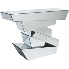 """Die Konsole """"Module"""" ist in einem modernen und ausgefallenen Design gehalten. Sie besteht aus Spiegelglas, das modern arrangiert wurde. Mit einer Breite von ca. 118 cm bietet das Ess- und Wohnzimmermöbel viel Platz für Ihre Accessoires. Bringen Sie Ihre Dekoration stilvoll zur Geltung - auf dieser extravaganten Konsole!"""