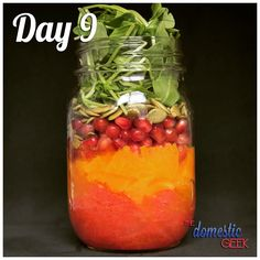 Day 9 - Pomegranate Citrus Salad   2 tbsp honey lime dressing http://bit.ly/12Dressings ½ grapefruit, cut into segments 1 orange, peeled and sliced ½ cup pomegranate seeds ¼ cup pumpkin seeds 1 cup arugula