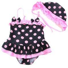 Black/Hot Pink Polka Dot Swim Suit (2pc)