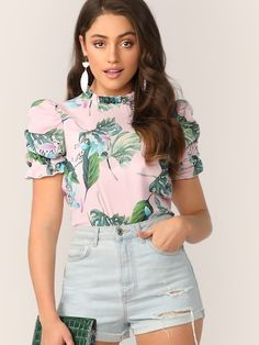 e50537927f SHEIN Frill Mock Neck Puff Sleeve Tropical Print Blouse #fashion #trends  #styles #