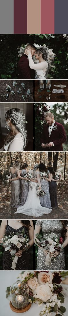 This glitzy wedding color palette is perfect for the colder seasons| Images by a sea of love