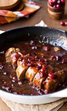 Cranberry Balsamic Pork Tenderloin - great way to use leftover cranberries!