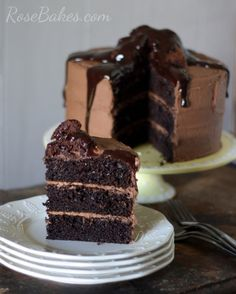 Dark Chocolate Cake with Brownie Batter frosting!
