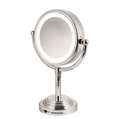 See a reflection of your face clearly with this dual-sided LED cosmetic mirror from Ovente. One side offers standard reflection without magnification; the other offers five times the magnification. A