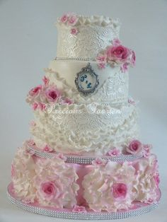 """""""Pink Lace Romance"""" Wedding Cake ~ Stunner! ~  White lace, Pink  Sugar Wild Roses, a tiny bit of glitz and ruffles  ~ all edible"""
