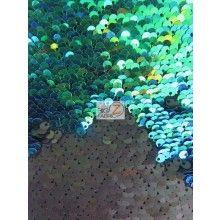 Reversible Mermaid Pearl Sequin Spandex Fabric / Mermaid Green/Black / Sold By The Yard