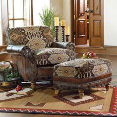 Lodge Decor-Rustic Cabin Decor-Southwestern Home Decor-Log Cabin Decor-Antler Lighting - Corsica Chair & Ottoman