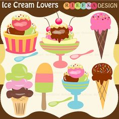 Ice Cream Lovers Digital Clipart Set - and yet another way too cute set!