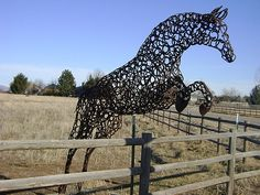 I adore this sculpture because of the repetition of shape and color. I think the fact that the entire sculpture is made up of the same thing, but it is so complex and alive makes it really interesting. Horseshoe Projects, Horseshoe Crafts, Horseshoe Art, Horseshoe Ideas, Horseshoe Wreath, Lucky Horseshoe, Sculpture Metal, Horse Sculpture, Welding Art