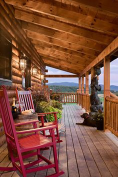 Front porch with the perfect view of the mountains and a cup of coffee in hand ......Nice!!