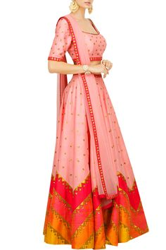 Priyal Prakash presents Pale pink lehenga set with multicoloured aztec border.