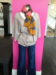 DL 1961 jeans and a great sweater from Emu. The Kalang Cape in sand. Jazz it up with a funky scarf from Pola for a bit of color.