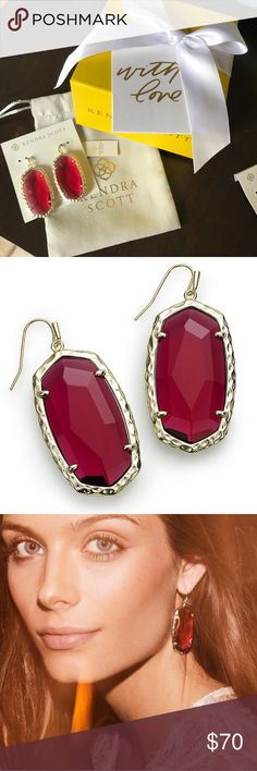 Kendra Scott Ella Drop Earrings in Ruby Red Gorgeous Kendra Scott earrings from this year's winter collection. Brand new. Comes with gift box and jewelry bag (your choice of the new grey bags or the classic blue bag). Ruby Red is currently sold out online! Makes a perfect gift this holiday season. Kendra Scott Jewelry Earrings