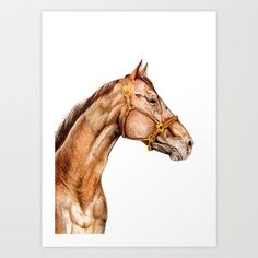 Brown Horse Traditional Portrait Art Print by rebeccasmethursts_art Portrait Art, Pet Portraits, Brown Horse, Artist At Work, Lion Sculpture, Horses, Statue, Traditional, Art Prints