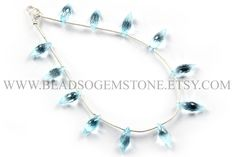 Sky Blue Topaz Faceted Dew Drops (Quality AAA) / 5x13 to 6x16 mm / 18 cm / BLUETO-012 by beadsogemstone on Etsy