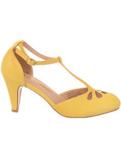 1950s Style Shoes Take the Cake T-Strap Heels in Lemon Chiffon $44.00 AT vintagedancer.com
