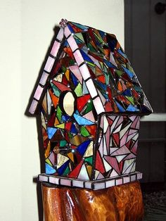 Birdhouse Art Glass Mosaic by tinalewis on Etsy