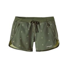 """Women's Patagonia Nine Trails Shorts 5"""" - Western Dots Camp Green Casual Bottoms featuring polyvore, fashion, clothing, activewear, activewear shorts, western dots camp green, patagonia sportswear and patagonia"""