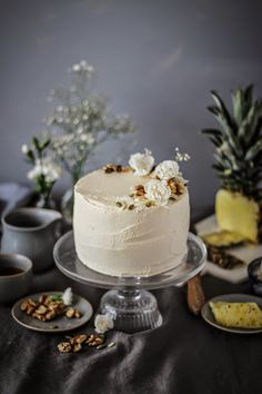 spiced carrot cake with grilled pineapple and brown sugar mascapone frosting.
