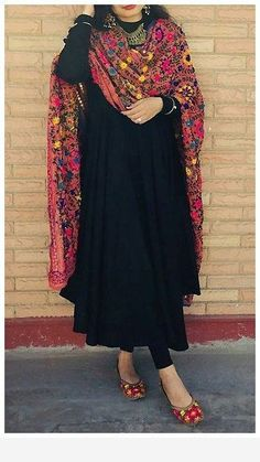 Black Dress with Phulkari Dupatta - Ada Boutique Pakistani Fashion Casual, Pakistani Dresses Casual, Indian Gowns Dresses, Indian Fashion Dresses, Dress Indian Style, Pakistani Dress Design, Indian Outfits, Simple Kurta Designs, Kurta Designs Women