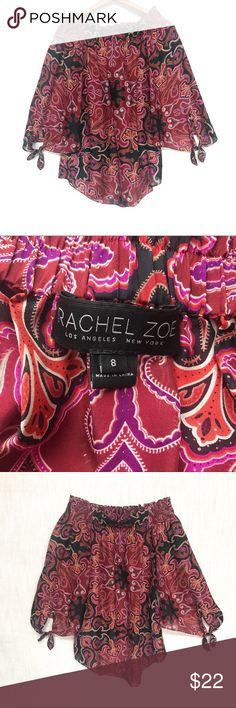 Rachel Zoe Silk Blouse, Off the Shoulder, Medium Off the shoulder 100% silk top by Rachel Zoe.   Great paired with some skinny jeans and high heels.   Excellent used condition with no flaws to note.   Size medium  Thanks for stopping by my closet. Don't forget to heart your favorite items to bookmark! Rachel Zoe Tops Blouses