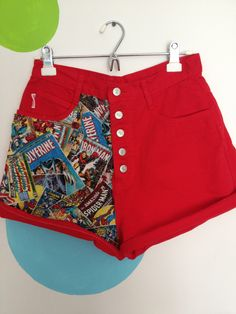Red High Waisted Jean Shorts with Comic Book Fabric. $30.00, via Etsy.