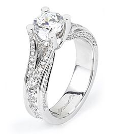 From Michael M. Collection Handcrafted platinum Engagement Ring with round brilliant pave-set diamonds with intertwining double rows of diamond detail. Also available in 18k white, yellow and rose gold.