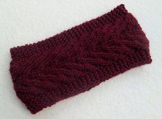 Hand Knitted Headband in Dark Burgundy by Need4KnitShop on Etsy