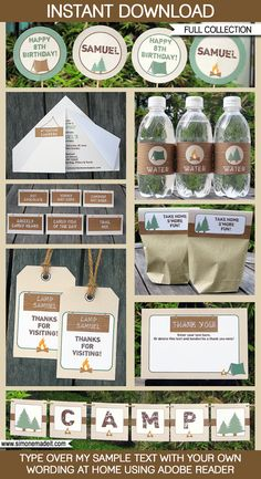 Camping Theme Party Invitations & Decorations - full Printable Package - INSTANT DOWNLOAD with EDITABLE text - you personalize at home
