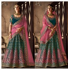 This is an Indian bollywood Pakistani wedding and party wear designer lehenga choli. lehenga crafted in velvet with designer blouse and dupatta. clear neat embroidery done to achieve pure designer look. Bridal Lehenga Online, Indian Bridal Lehenga, Pakistani Bridal Dresses, Indian Dresses, Indian Outfits, Indian Clothes, Traditional Gowns, Party Wear Lehenga, Salwar Kameez