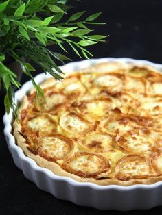 Plat du jour du Restaurant Le Saint-Hubert de Briare : Quiche poireaux, chèvre lardons