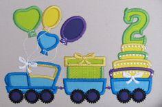 Birthday Train with cake and gift pack  machine by artapli on Etsy, $3.49