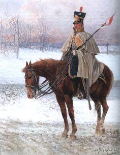 Winter dress of 8e Régiment de Chevau-légers-lanciers (Légion de la Vistule)=1811 colonel Dominik Radziwiłł )_before 1913Source_L'Armée du Duché de Varsovie par Jan Chełmiński (1851-1925)