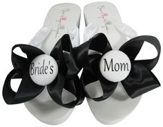 9b153cad7c300 Satin Wedge Wedding Flip Flops- Bride s Mom- White and Black Bows- Choose  Heel   Colors - Groom s Mom